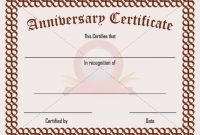 Anniversary Certificate Template Free 2