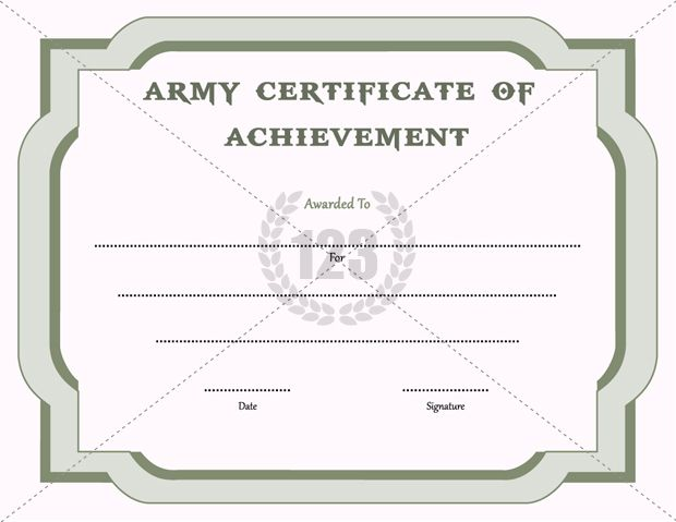 Army Certificate Of Achievement Template 3