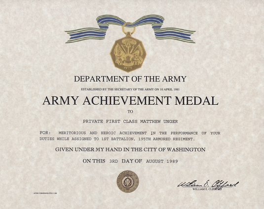 Army Certificate Of Achievement Template 4