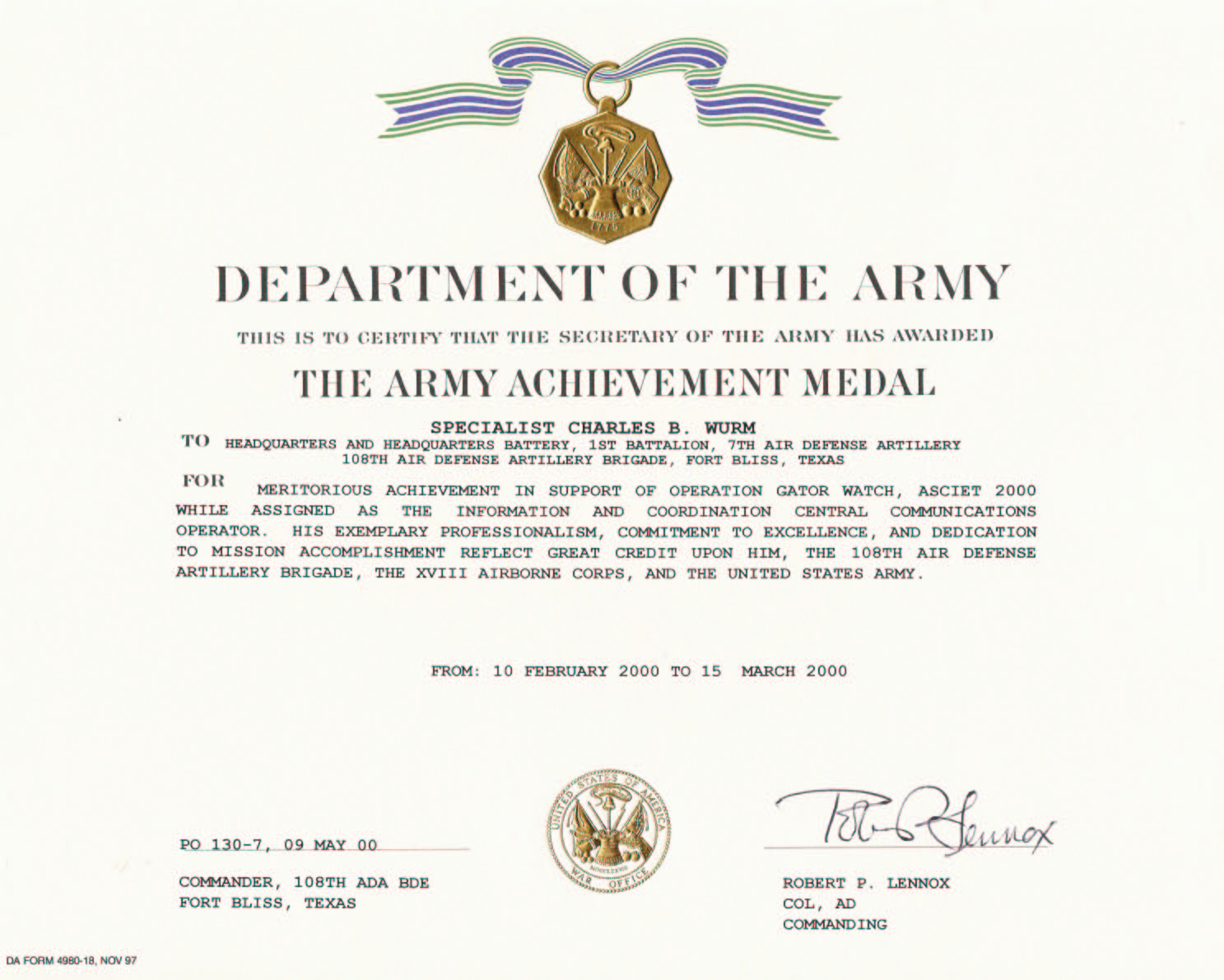 Army Certificate Of Achievement Template 8