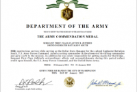 Army Certificate Of Achievement Template 9