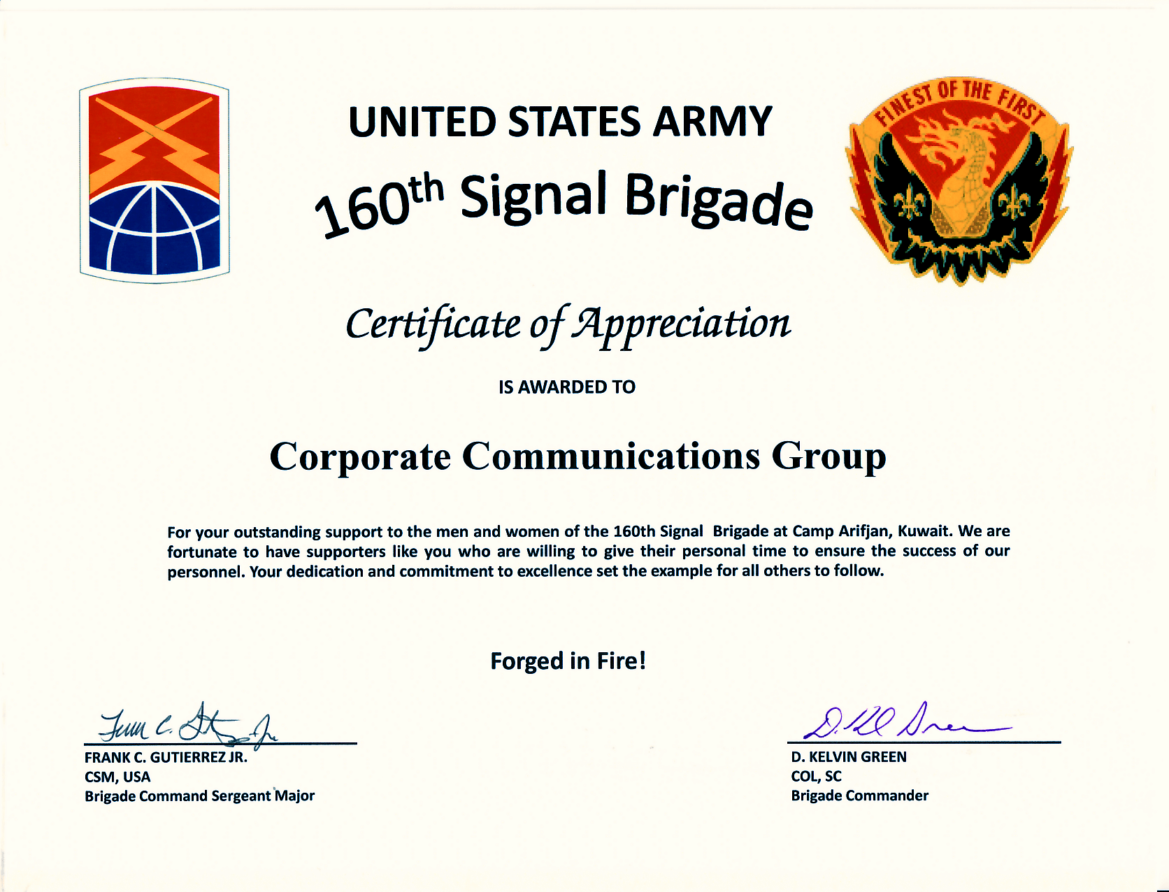 Army Certificate Of Appreciation Template 3