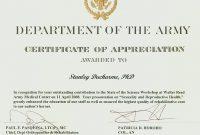 Army Certificate Of Appreciation Template 4
