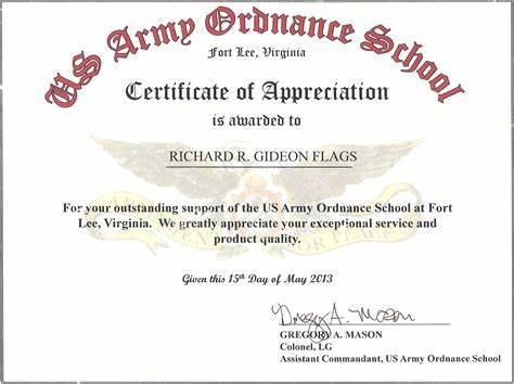 Army Certificate Of Appreciation Template
