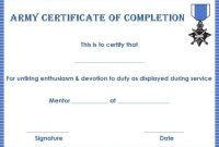 Army Certificate Of Completion Template 4