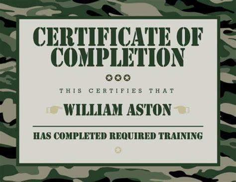 Army Certificate Of Completion Template 8