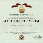 Army Good Conduct Medal Certificate Template