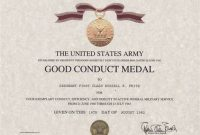 Army Good Conduct Medal Certificate Template 2