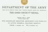 Army Good Conduct Medal Certificate Template 3