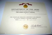 Army Good Conduct Medal Certificate Template 5