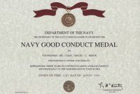 Army Good Conduct Medal Certificate Template 6