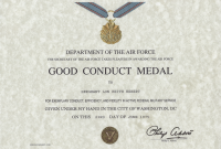 Army Good Conduct Medal Certificate Template 8