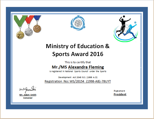 Athletic Certificate Template 4