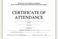 Attendance Certificate Template Word 2