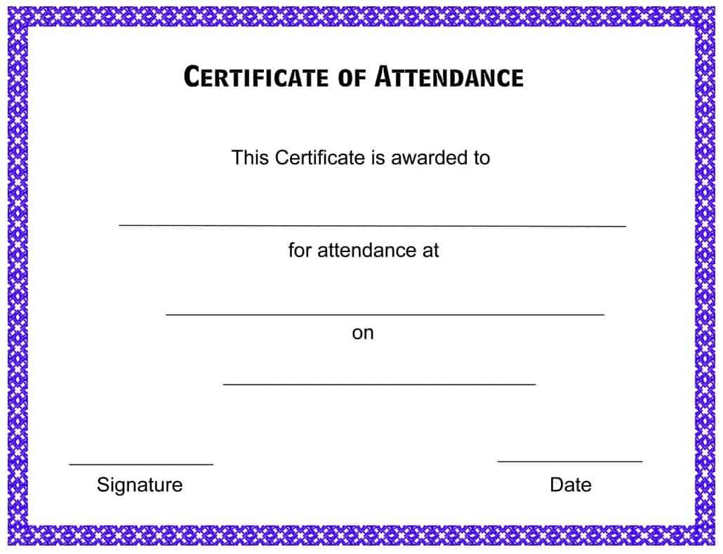 Attendance Certificate Template Word 5