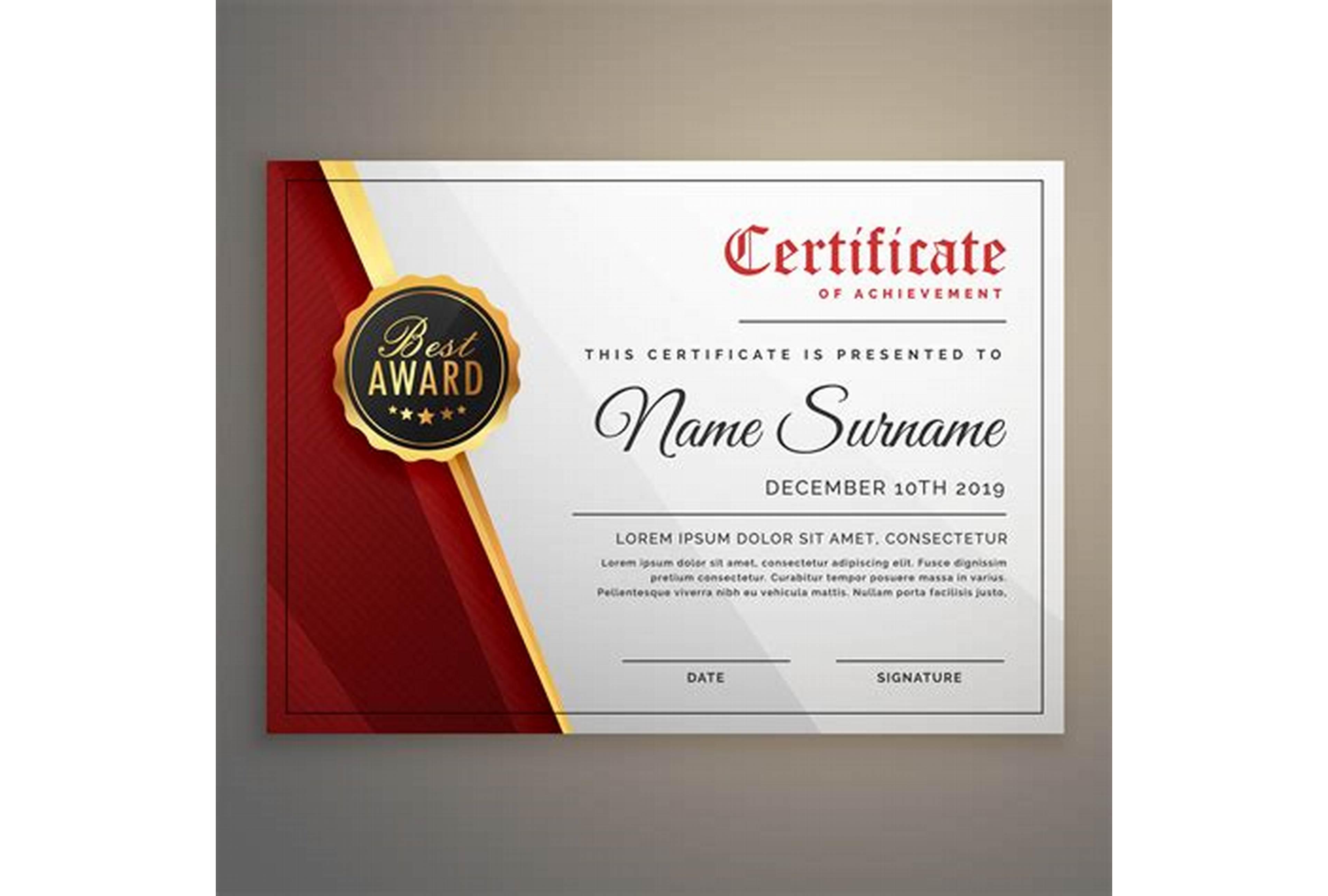 Award Certificate Design Template 5