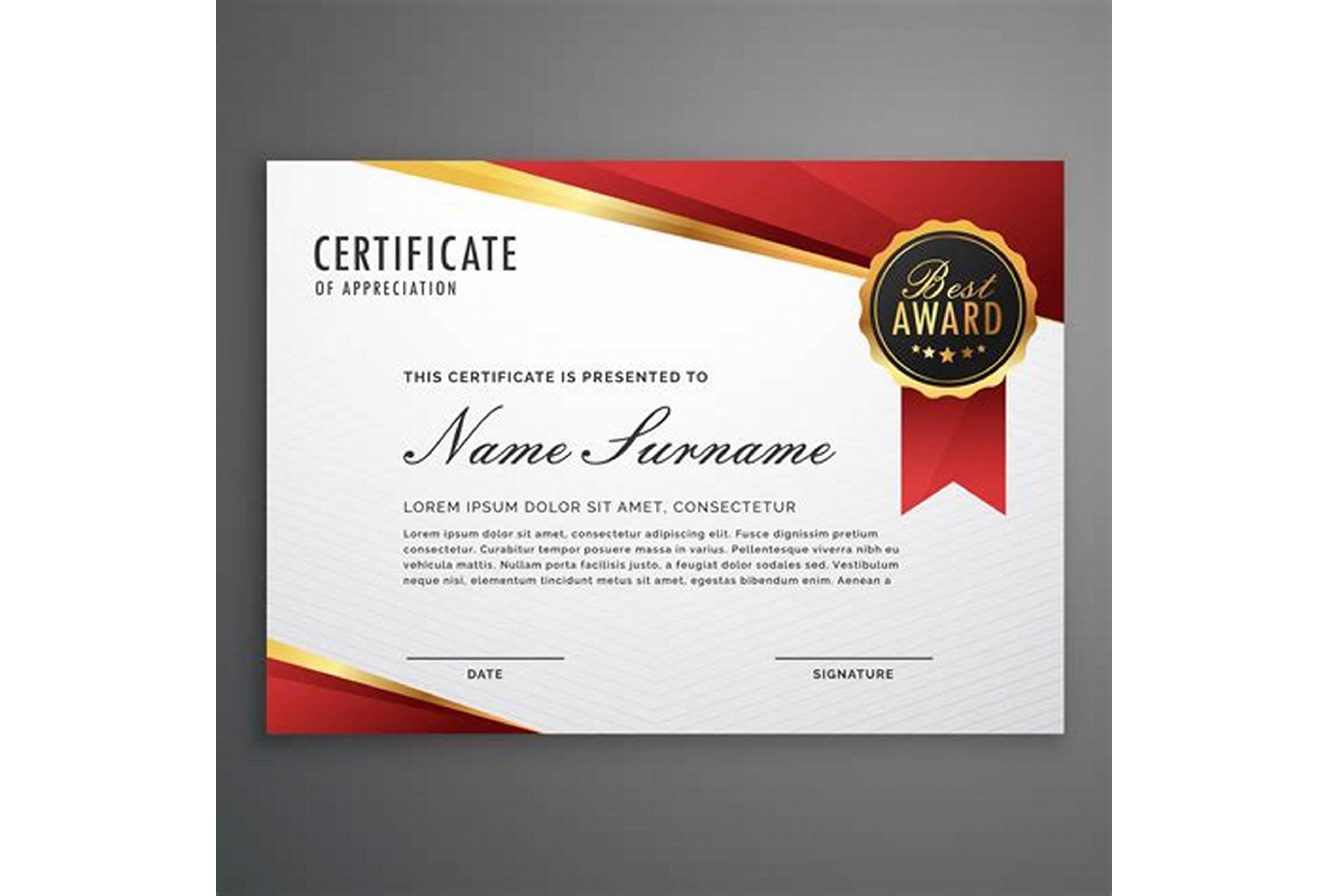 Award Certificate Design Template 8