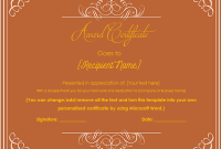 Award Certificate Templates Word 2007 8