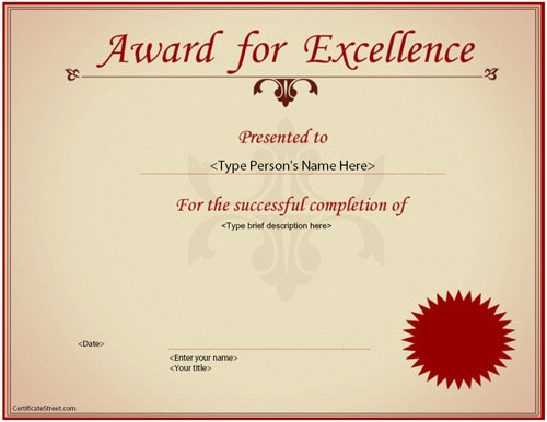 Award Of Excellence Certificate Template 11