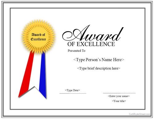 Award Of Excellence Certificate Template 2