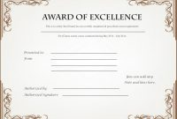 Award Of Excellence Certificate Template 5