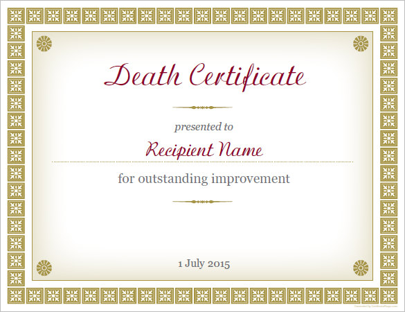Baby Death Certificate Template 9