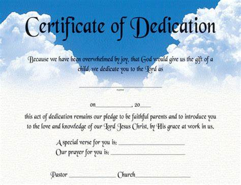 Baby Dedication Certificate Template 0