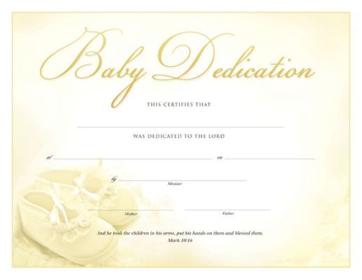 Baby Dedication Certificate Template 7