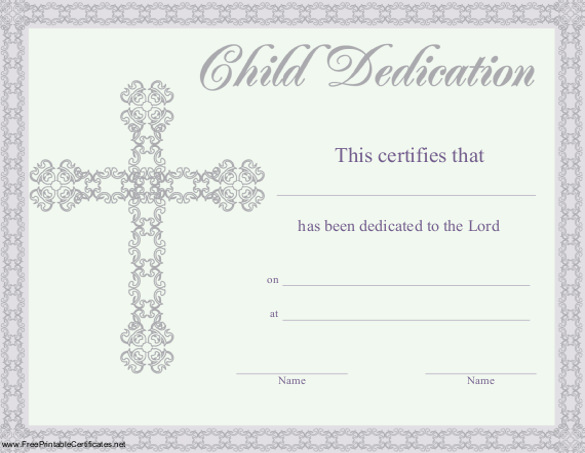Baby Dedication Certificate Template 9