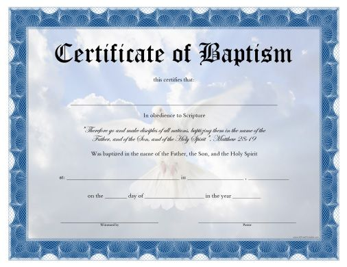 Baptism Certificate Template Download 2