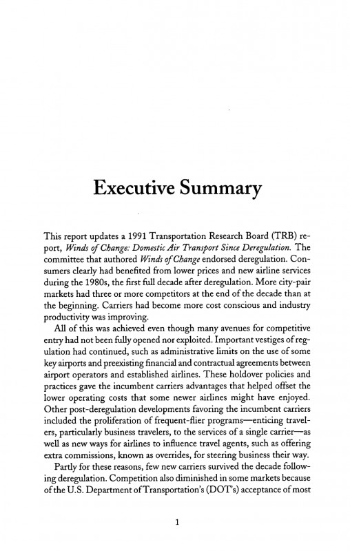 Agreed Upon Procedures Report Template New 4 Executive Summary Entry and Competition In the U S Airline