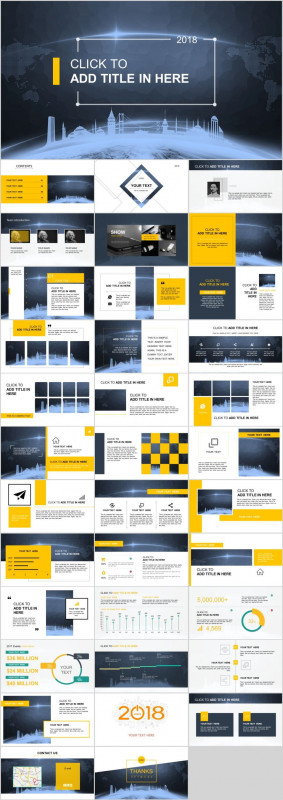Annual Report Ppt Template Professional 36 Blue Yellow Technology Report Powerpoint Template Pcslide Com