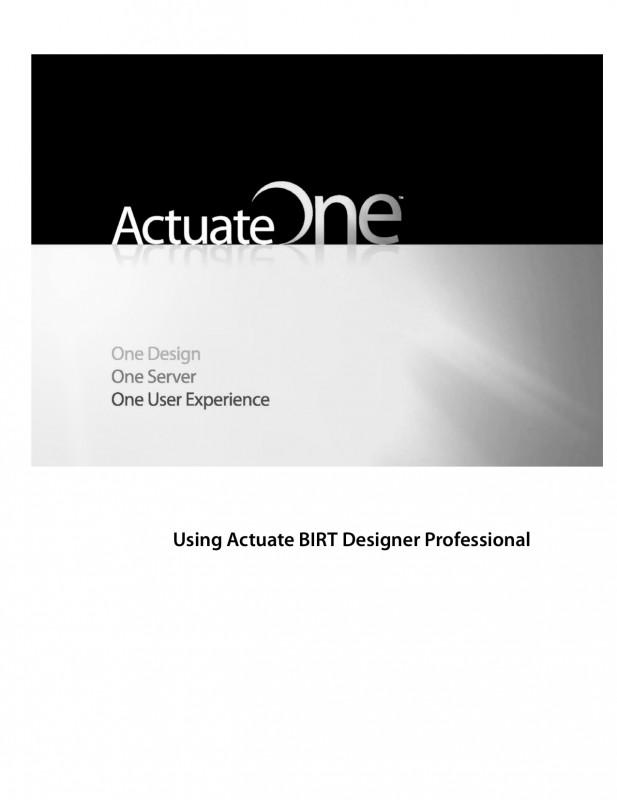 Birt Report Templates Unique Using Actuate Birt Designer Professional Manualzz Com