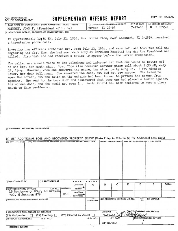 Blank Police Report Template Professional City Of Dallas Archives Jfk Collection Box 1