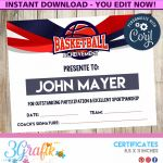 Certificate Of Achievement Template for Kids Awesome Basketball Certificate Printable 3grafik Certificates