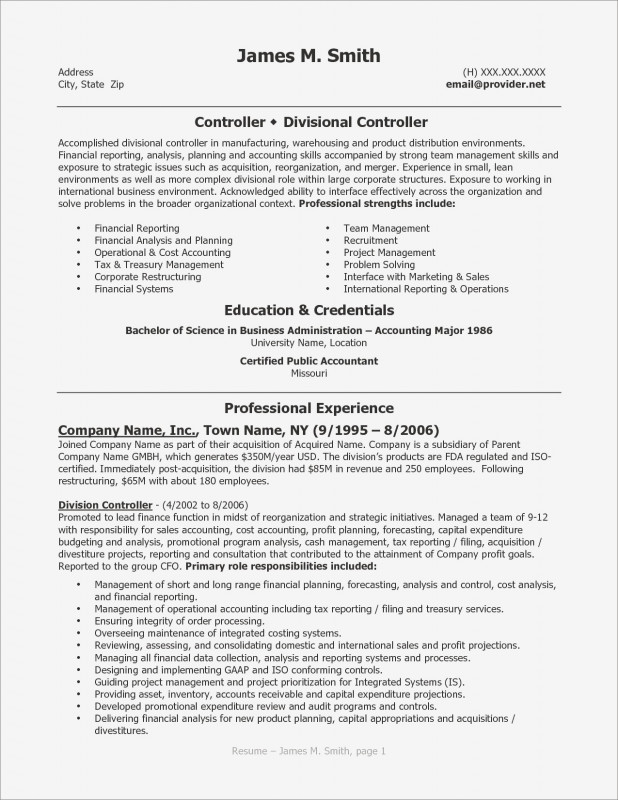 Credit Analysis Report Template Unique Sample Resume Accounting Finance Valid Cfo Resume Template