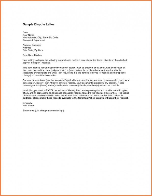 Credit Report Dispute Letter Template New Dispute Credit Report Letter Free Template Late Payments From Sample