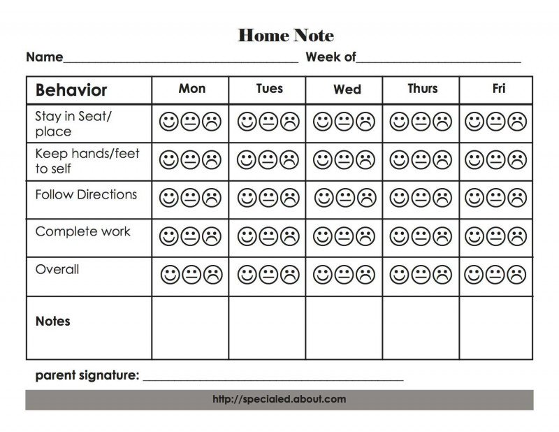 Daily Behavior Report Template Professional Example Home Notes For Behavior Monitoring