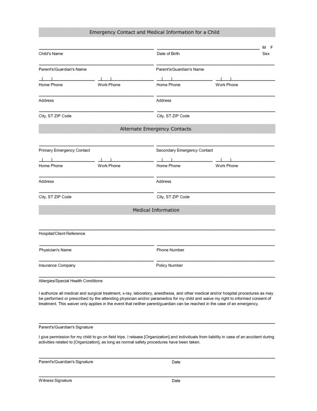 Daycare Infant Daily Report Template New Emergency Contact Information Form Template Information Daycare
