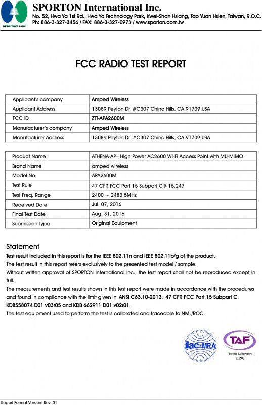 Dr Test Report Template Professional Apa2600m Athena Ap High Power Ac2600 Wi Fi Access Point With Mu Mimo
