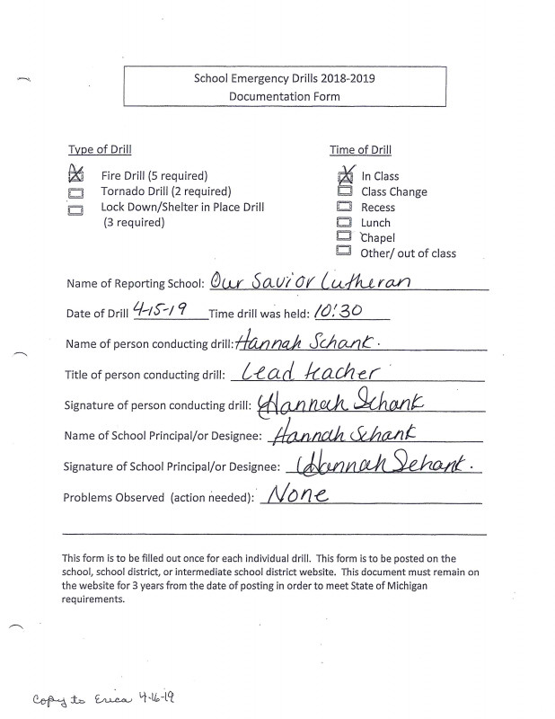 Fire Evacuation Drill Report Template New Our Savior Lutheran Church Reports Of Emergency Drills