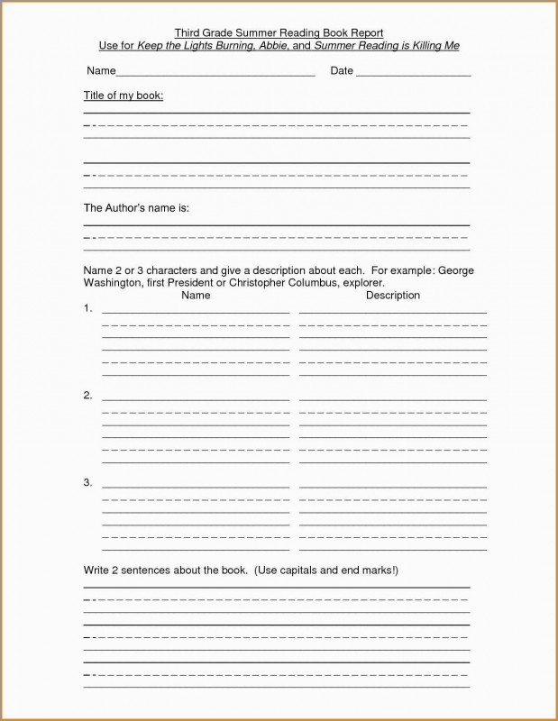 First Grade Book Report Template Professional 3rd Grade Book Report Template Free Fabulous Book Report Outline 5th