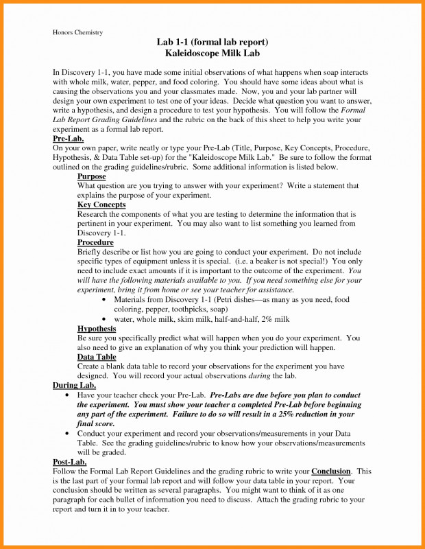Formal Lab Report Template Unique Formal Lab Report Example New Sample Y Reports Laboratory Format Pdf
