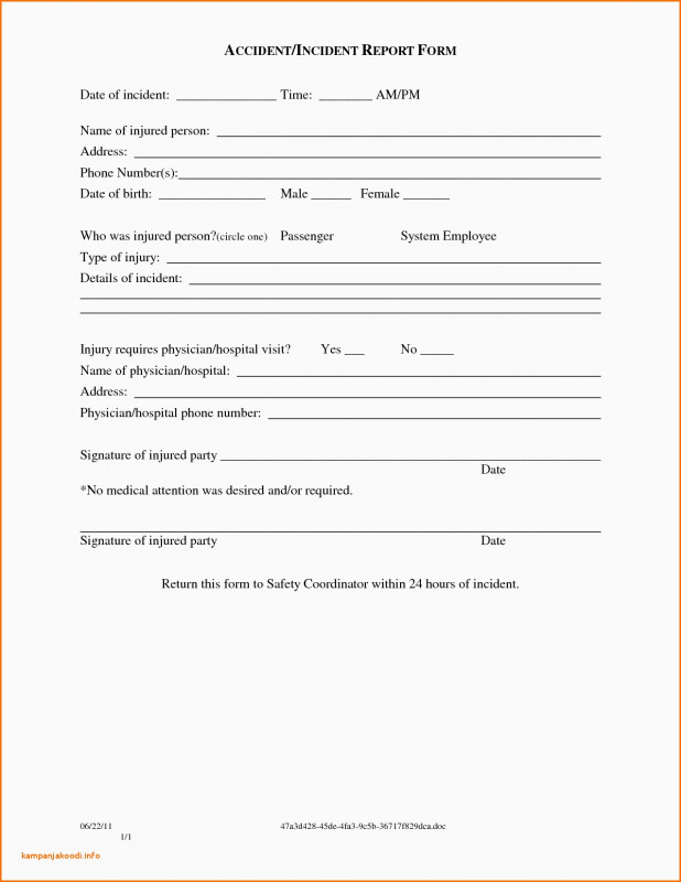Generic Incident Report Template New Work Release forms Templates