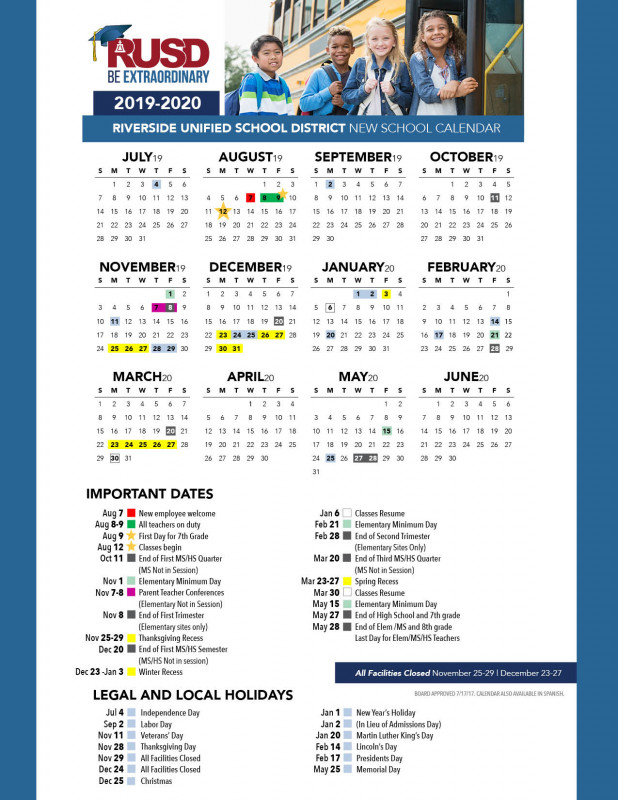 High School Student Report Card Template Professional District Calendar Riverside Unified School District