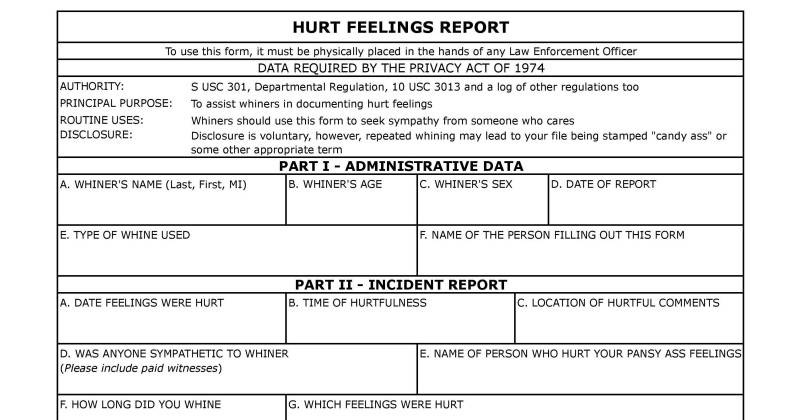 Hurt Feelings Report Template Professional Template Hurt Feelings Report Savethemdctrails org