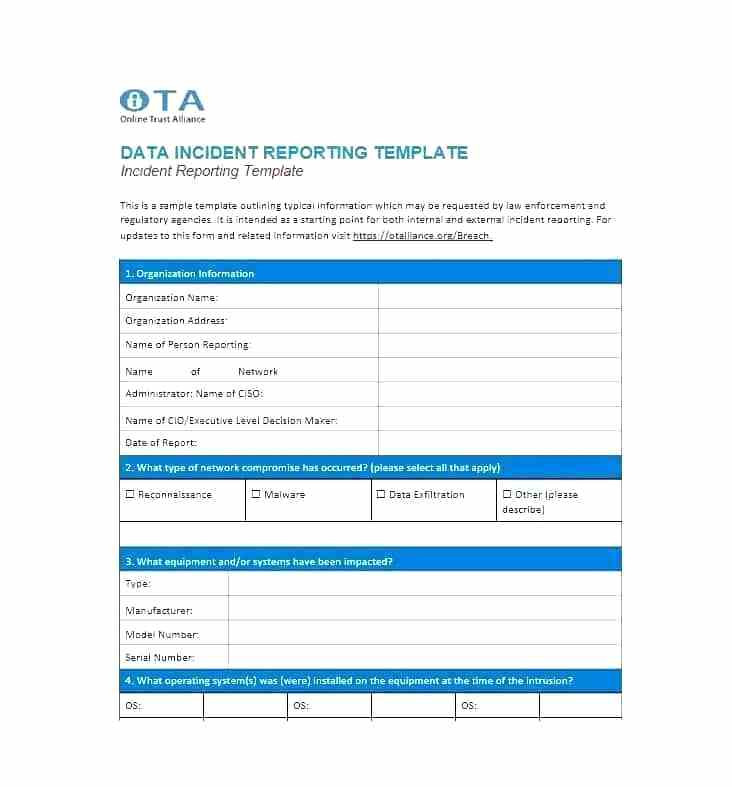 Incident Report Template Itil Unique System Incident Report Sample Format Information Security New
