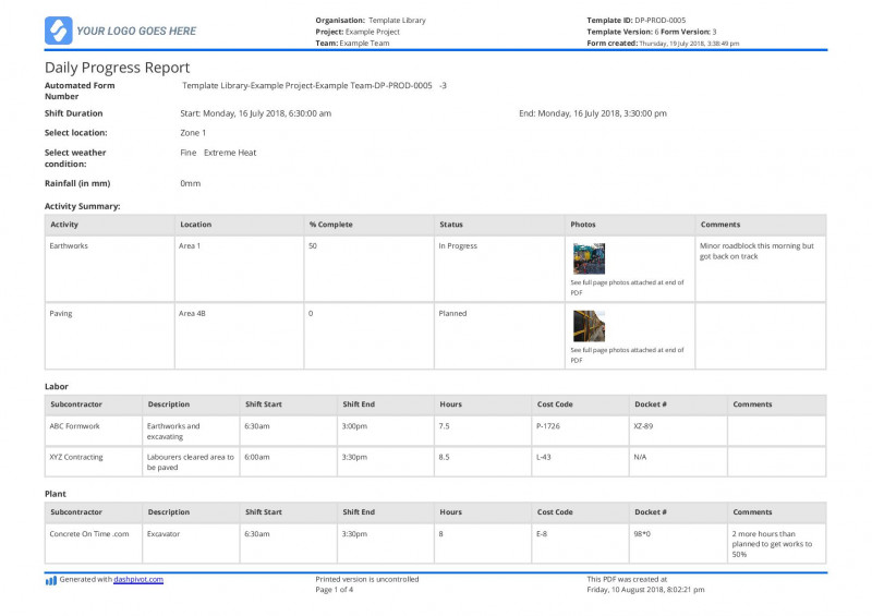 It Progress Report Template Awesome Project Report format Excel Free Download for Bank Loan In
