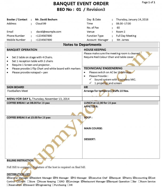 It Report Template for Word New Banquet Function Sheet Banquet event order Beo Fp Banquet