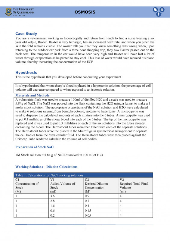 Lab Report Template Chemistry Unique Osmosis Lab Report Biom1050 Biology for Health Sciences Studocu